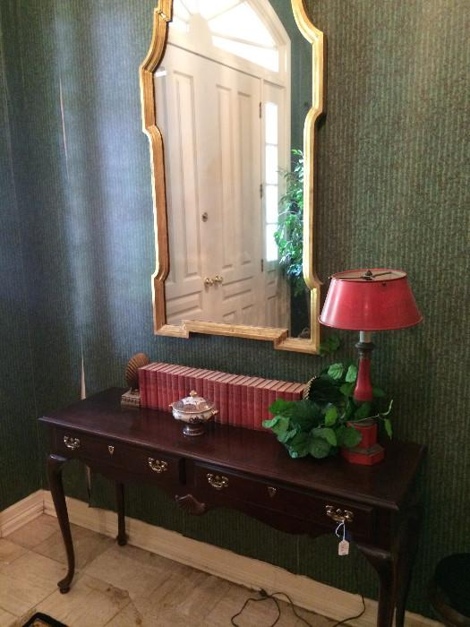 Entry or sofa table; large mirror; 1 of many lamps
