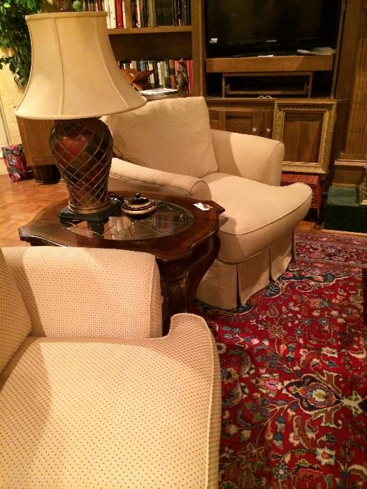 Extra nice pair of club chairs, end table, & lamp
