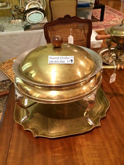 Brass chaffing dish & tray