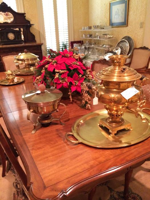 lovely dining table/8 chairs; Russian samovar & tray