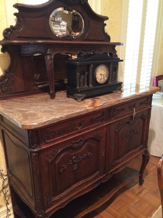 Victorian style marble-top buffet