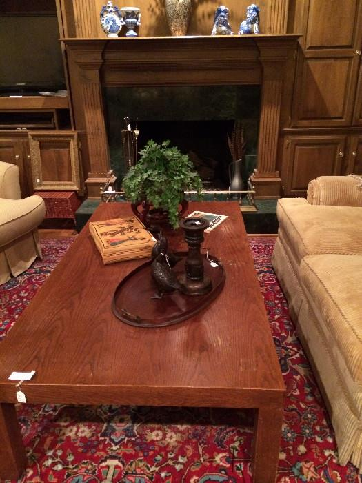 Extra large coffee table; many decorative items