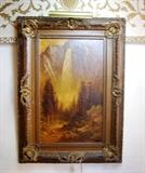 37 INCHES X 51 INCHES --  BRIDAL FALLS, YOSEMITE  VINTAGE PAINTING BY THOMAS HILL