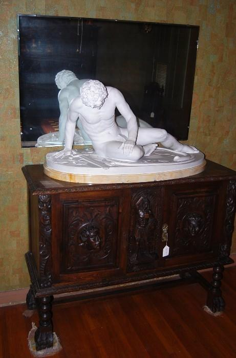 WOUNDED MAN - CARRERA MARBLE SCULPTURE BY FERDINANDO PALLA  PIETRASANTA, ITALY HT: 21 INCHES