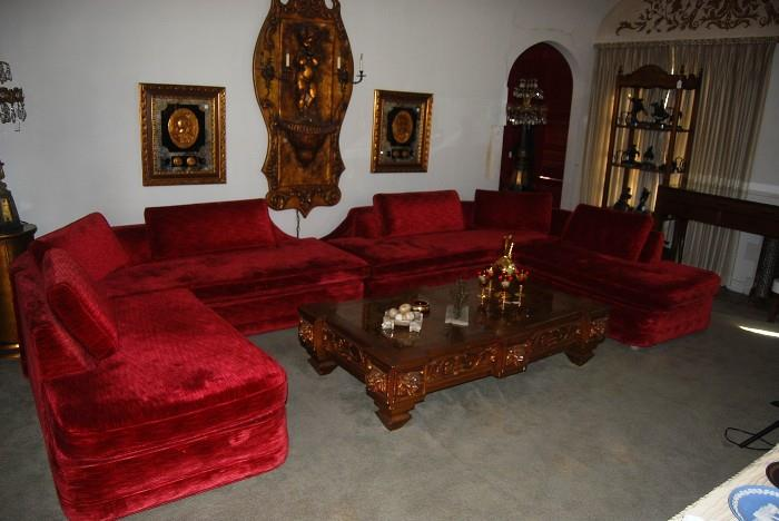1960'S RED VELVET SECTIONAL COUCH UNIT - WITH ACCESSORY PLACEMENT BY CANDY CLARK