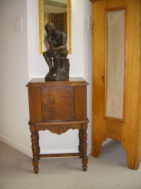 """Vintage copper-lined smoking stand, """"The Thinker"""" plaster statue"""