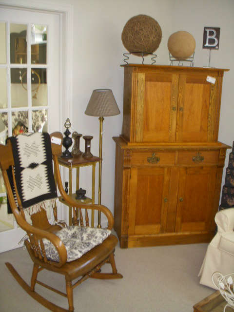 Boston rocker, Plant stand, Floor lamp, Oak 2-tier cabinet that was being used to house a small flat-screen TV