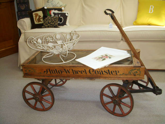Antique Auto-Wheel Coaster wagon with great original paint.  Has been fitted with a glass top to use for displaying small items.  NICE!