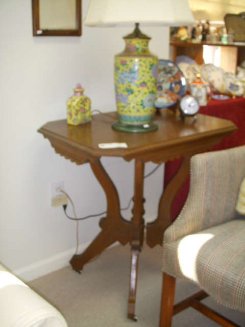 Unfortunately, a blurry photo of a nice walnut table and oriental style lamp