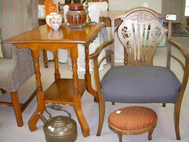 Oak table, Vintage arm chair, etc.