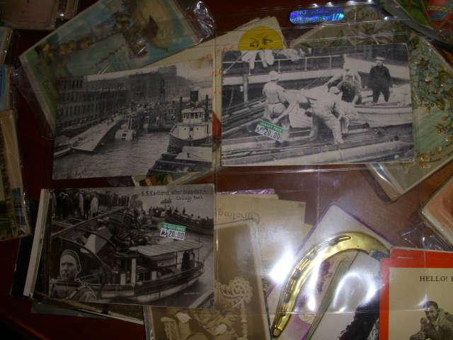 A fraction of the 100's of postcards.  Black & white cards here are of the Disaster when the Eastland capsized in the Chicago River early in the 20th Century.