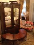 Antique wardrobe, half-moon table, chaise lounge. Third floor.