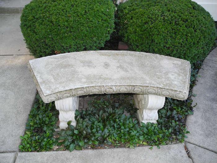 Concrete bench, concrete pots with mums, more garden items