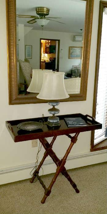 tray table and Wedgewood lamp