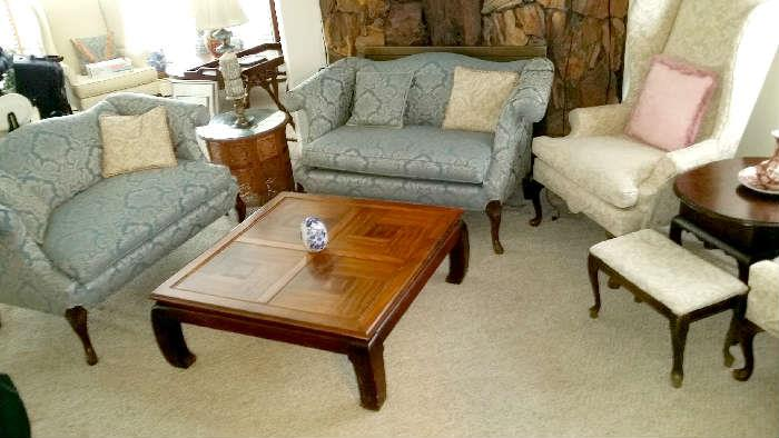 Victorian sofa set and wing backed chairs