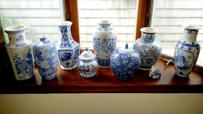 Many, many blue décor vases