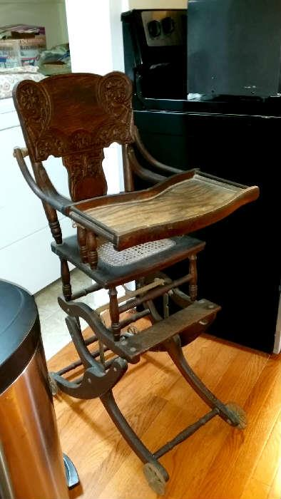antique high chair/stroller combo