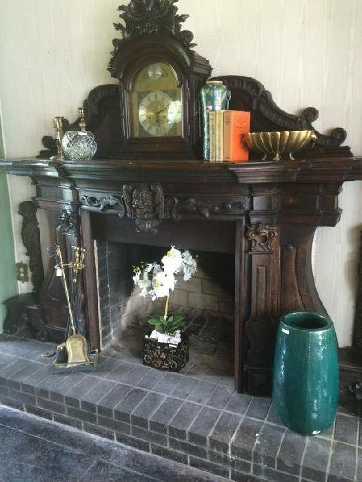 Fireplace tools, rose bowl, books, and other décor (mantel & clock - not for sale);