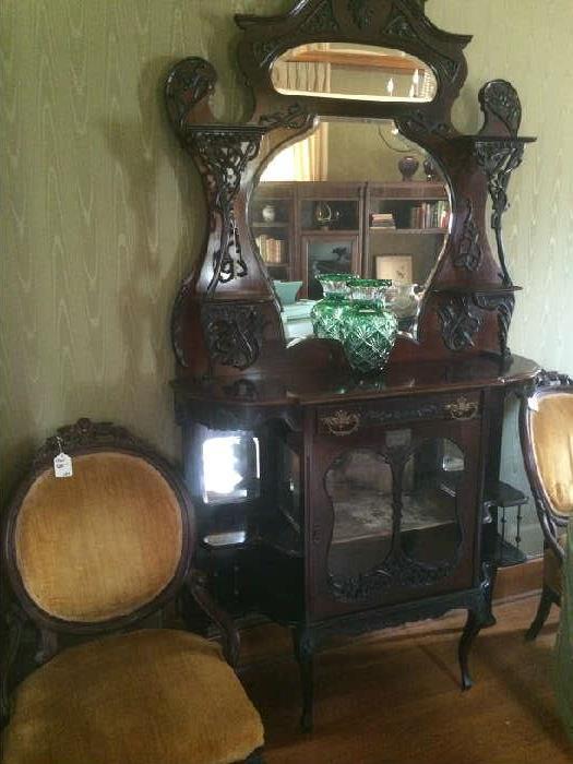 Exceptional French étagère; antique gold parlor chairs;