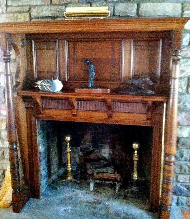 Unique mahogany fireplace surround and mantle, 63x 17 x 72