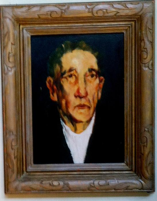 John Grabach, self portrait, oil on board, 9 x 12.5, signed verso, highly collectable NJ artist,