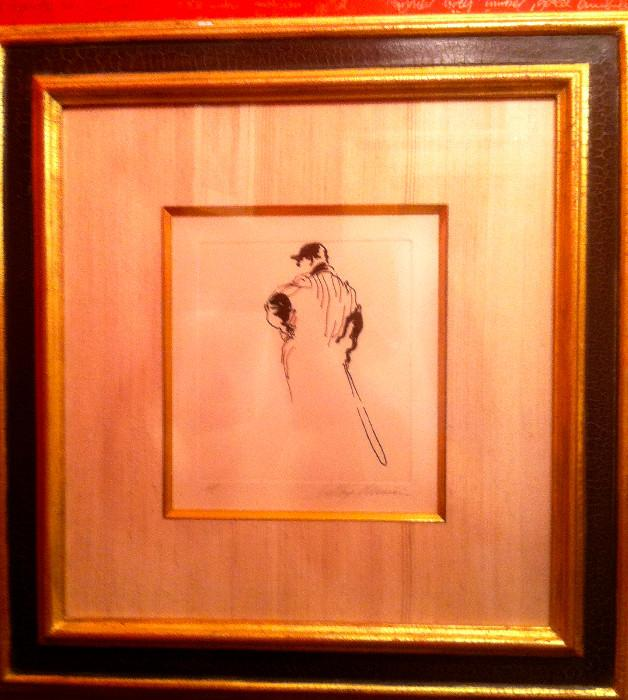 """Leroy Neiman, etching """"the Babe"""", artist proof"""