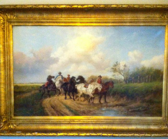 Alexis de Leeuw, massive painting in gilt frame, oil on canvas, dimple in canvas, losses to original gilt frame,  mid 19th century Belgian artist