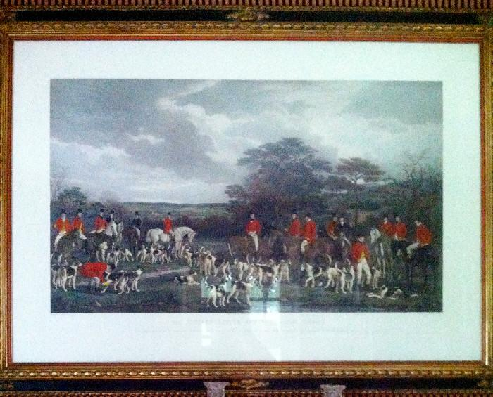 """""""Sir Richard Sutton and the Quorn Hounds"""", hand colored copperplate engraving, framed 14 x 21 image area."""