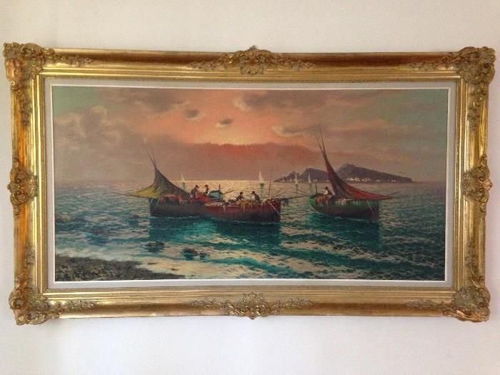 Vintage Italian Boat oil Painting