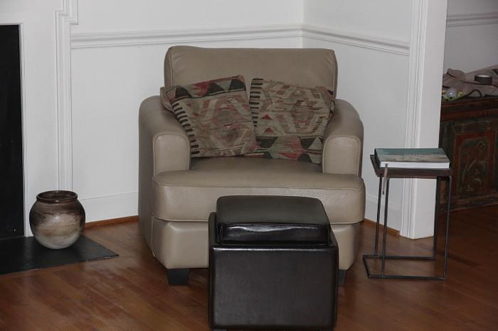 Leather chair and ottoman, nearly NEW, purchased at Furnitureland South