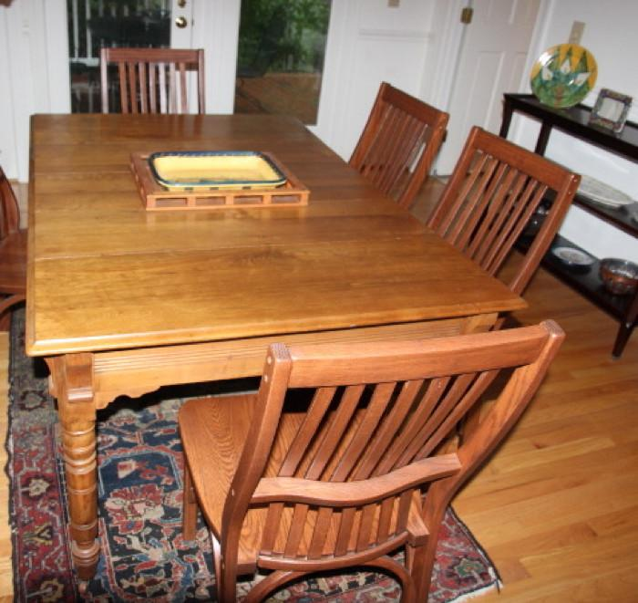 Antique dining table and custom-made chairs
