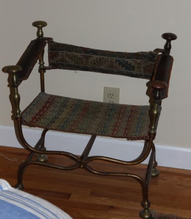 Great antique chair, purchased from an old hotel in Ohio...polychrome metal with leather and tapestry upholstery