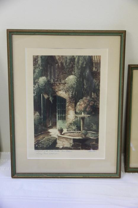 one of a set of New Orleans' Old French quarter prints, in nice vintage green frames