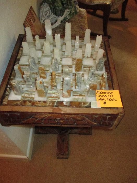 Alabaster Chess Set With Table