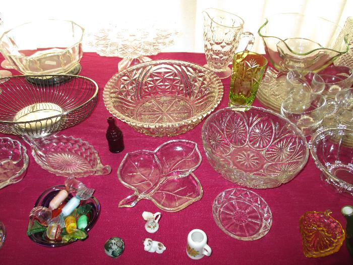 Glassware, Murano Candy With Dish, Nachtmann Lime Green Cut to Clear Glass