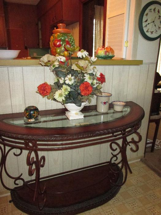 Entry Way Table, Notice the Clock On The Right.  It's a Bird Clock!