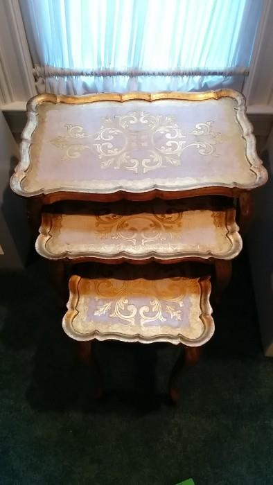 LOOK! Italian Florentine nesting tables. Good things do happen in threes!
