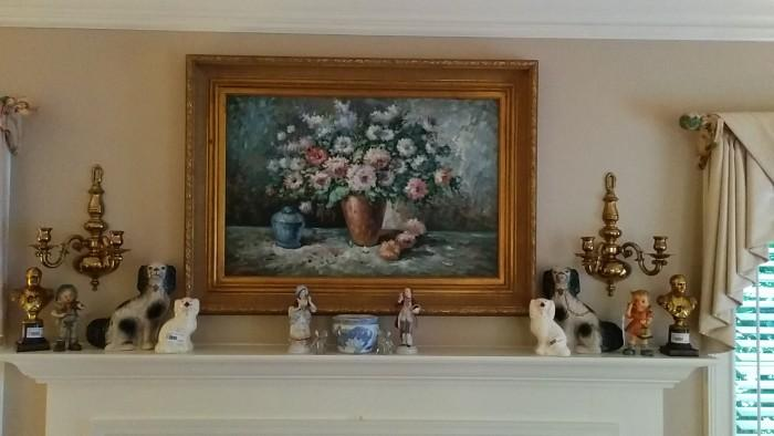 Scratch & Sniff still life oil painting of purdy fleurs, very nice antique English brass sconces, fake (made in China) Staffordshire dogs, but who cares,  this is Atlanta, they look good!