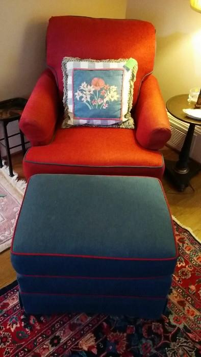 Glamor shot of club chair - do you love the Mee Maw pillow?