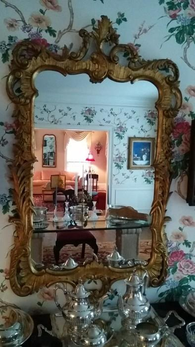 Gorgeous French carved and gilded wooden mirror - surprise, not made in China! The silver tea set is excellent quality, in great condition, but, alas, it is silver plate. Are you kidding, if it was sterling, it would be at MY house!  ;-)