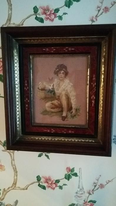 One of three needlepoint portraits in period frame - very nice and impressive in person.
