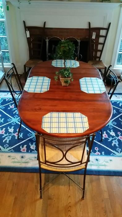 """Wonderful """"Blackberry Road"""" table by Charleston Forge (Boone, NC), with two each of side and arm chairs. This thing is extremely heavy and expensive. EACH armchair retails for around $900.00. Don't believe me? Check it out here:http://www.wayfair.com/Charleston-Forge-Blackberry-Road-Arm-Chair-C700-70-F01-L168-K~CHFR1150.html?refid=GX50899279860-CHFR1150&device=c&ptid=83325899959&gclid=CjwKEAjwqamhBRDeyKKuuYztxwQSJAA1luvG6ffWBsxPiXhYzsvCp53r_XVMH_LrHn_-X3LGlv8m0BoCm9Pw_wcB"""