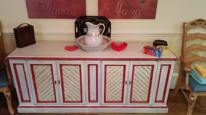 """This is the buffet of the """"French Country"""" theme-park dining suite. Note Greek Key detail on the pitcher and bowl. Typical Greek pottery decoration is men playing leapfrog. The best way to separate the men from the boys in Greece is with a crowbar."""
