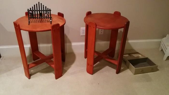Two side table inspired by tongue depressors.