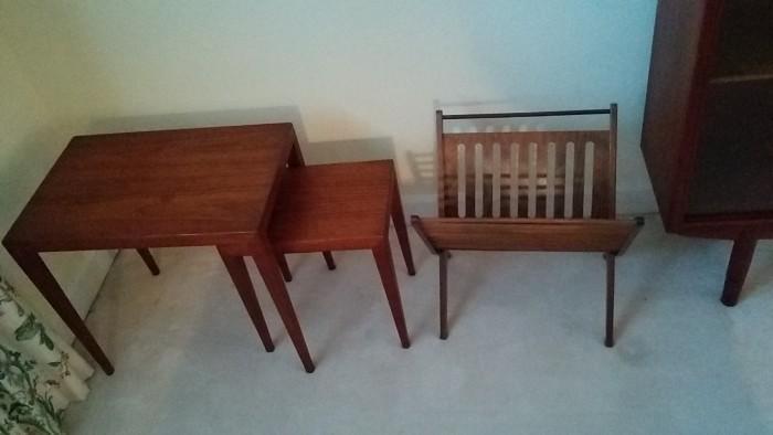 Nice pair of Mid-Century Danish teak nesting tables; sad magazine rack feels lonely and needs friends.
