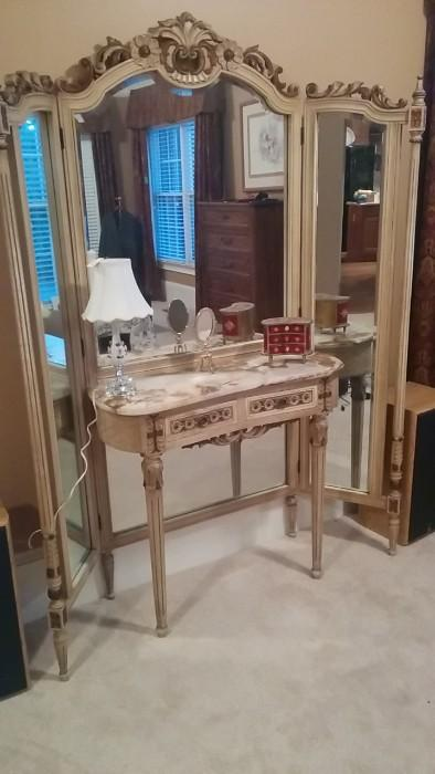 Absolutely fabulous antique French, hand-carved, triple-mirror dressing table, with marble top. Yes, it ticks all the boxes. Yes, the woman of the house is a diva.