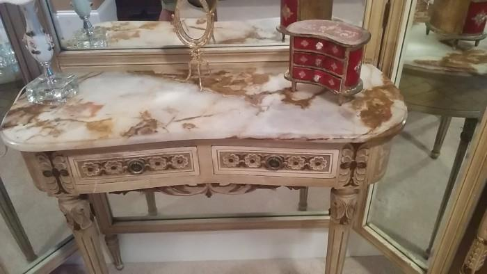 Detail of marble top of French dressing table. Look! A miniature Italian Florentine chest!