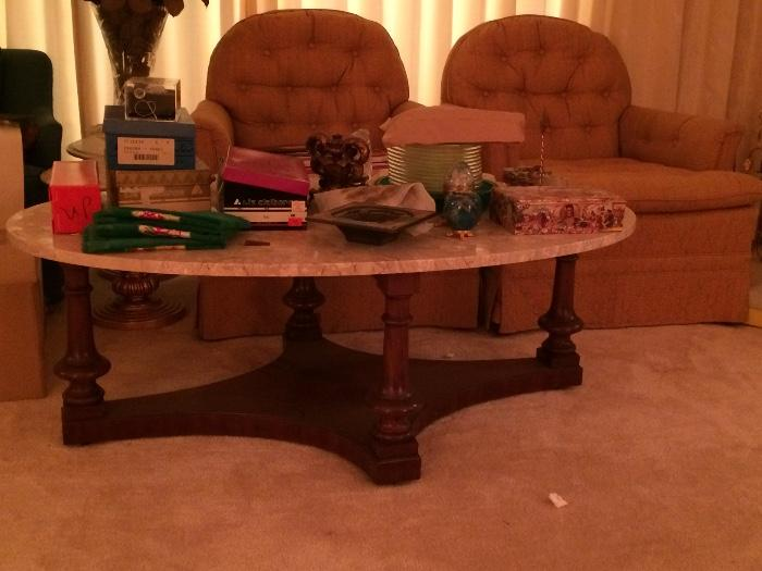 MARBLE TOP COFFEE TABLE AND ONE OF THE PAIR OF CHAIRS