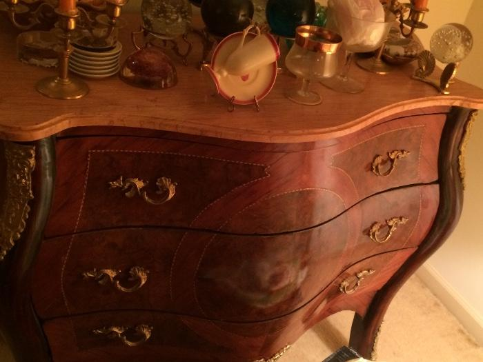REPRODUCTION MARBLE TOP FRENCH CHEST