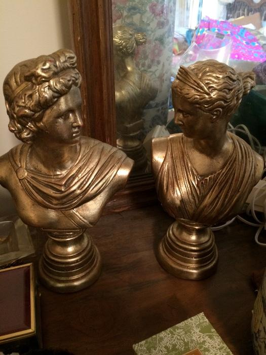 PAIR OF PLASTER BUSTS